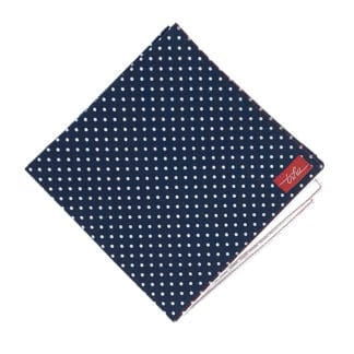 blue handkerchief with white polka dots