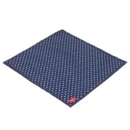 blue hanky with white polka dots, single ply