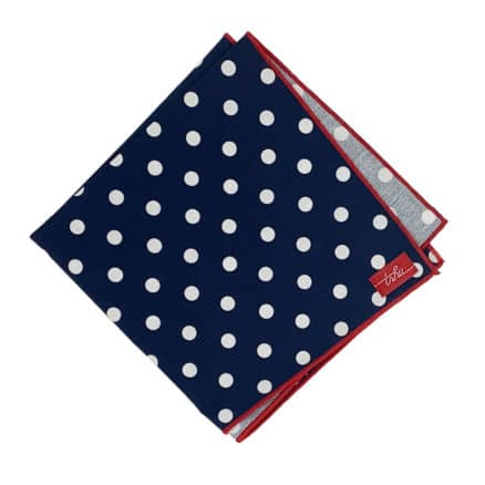 blue hanky with white polka dots