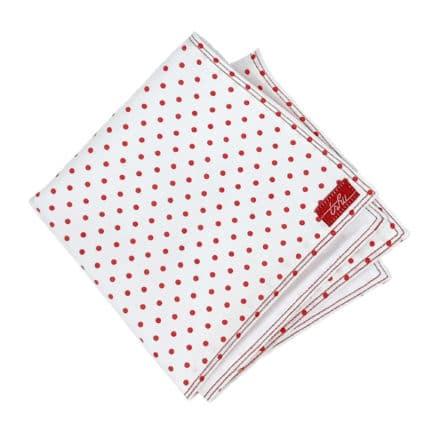 mouchoir en tissu blanc à pois rouges