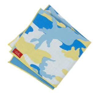 yellow and blue camouflage handkerchief
