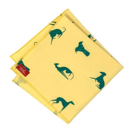 yellow handkerchief with green greyhounds