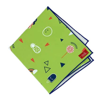 green handkerchief with blue rolled edge and emoji print