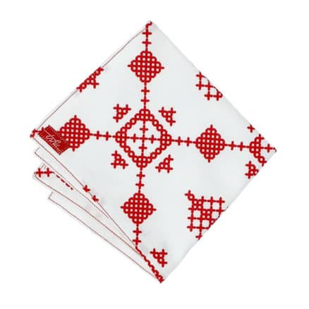 White and red handkerchief with snowflake pattern