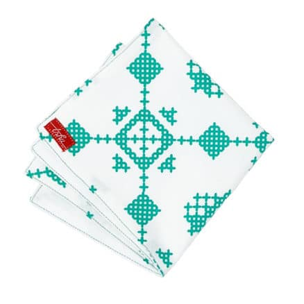 white and green winter handkerchief