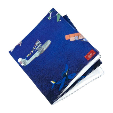 Blue handkerchief with gorgeous airplane pattern