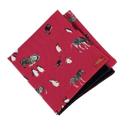 pink handkerchief with animal pattern