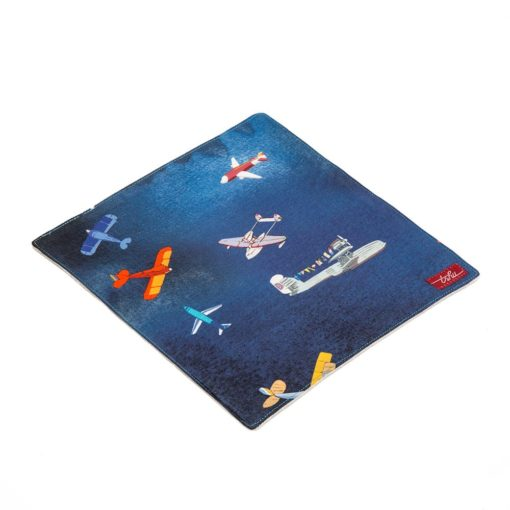 blue reusable washcloth with planes pattern