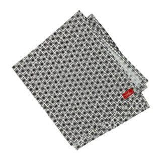 serviette en tissu blanche avec motif japonais noir