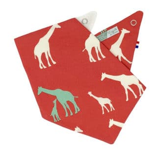red bandana bib with giraffes